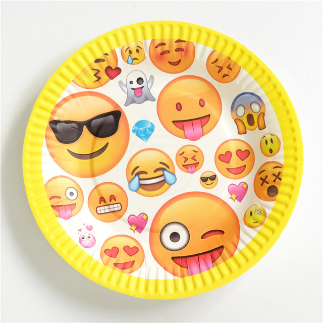 10pcs Emoji Party Supplies Paper Plate Baby Shower Kids Birthday Favors Disposable Tableware Event