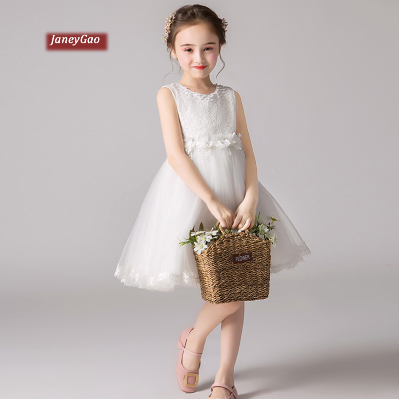 JaneyGao   Flower     Girl     Dresses   For Wedding Party Little   Girl   Princess Formal Gown 2019 New White Kids Birthday Prom   Dress   In Stock