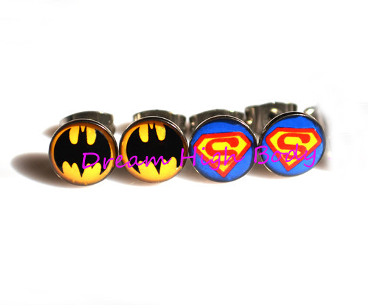 Superman Batman Ear Stud New Design Logo Ear Ring Nail Earring Jewelry Girls High Qulity 100pair/lot Free Shipping