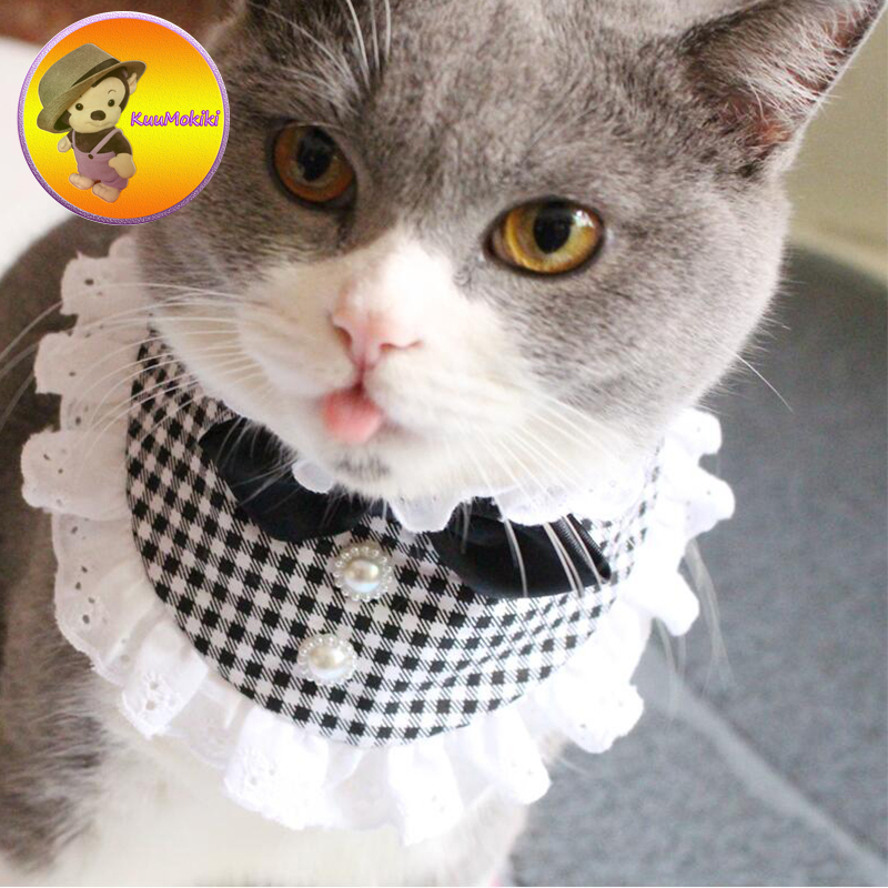 Personalize Design Lace Pets Dogs cats Neck Scarf Collar Adjustable Puppy dog Bandana Pet Puppy Cat Neckerchief Hand Made