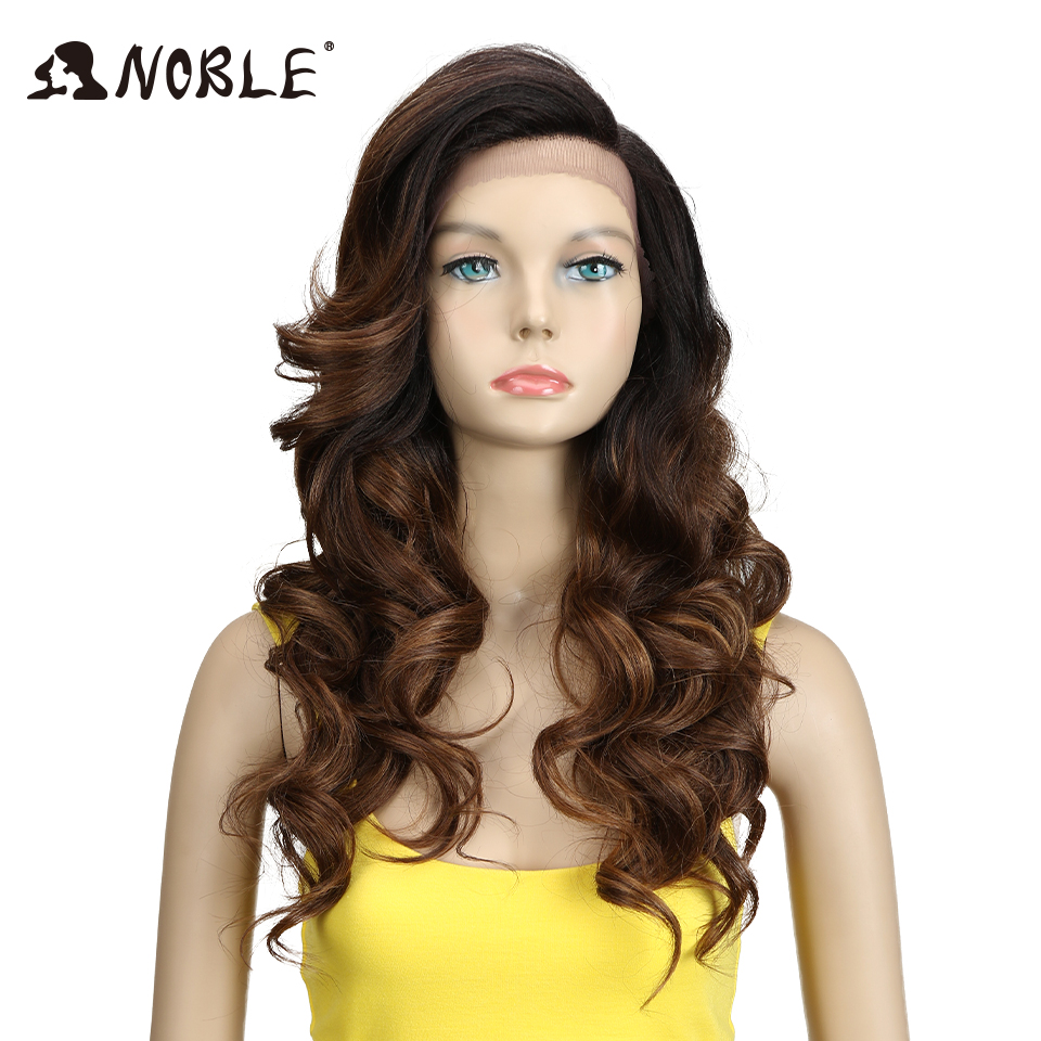 "Noble Heat Resistant Synthetic Wigs For Women Natural Long Wavy Wig With Bangs 24"" Ombre Hair Black To Brown 150% Heavy Density(China)"