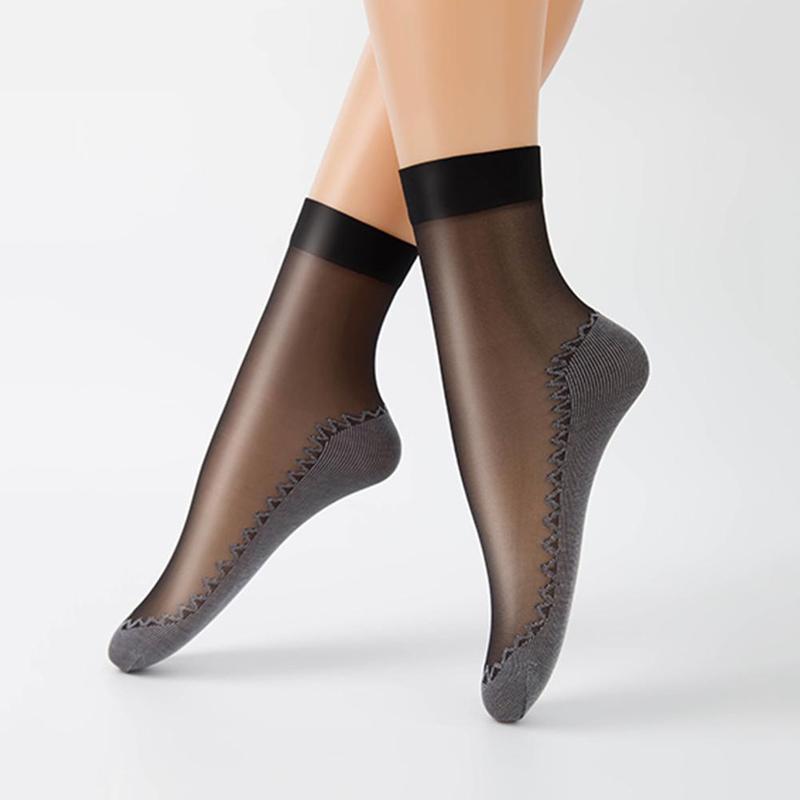 10 Pairs 2019 Spring Summer Women Socks Soft Casual Socks Non-slip Bottom Splice Thin Silk Sock Meias Women Ladies