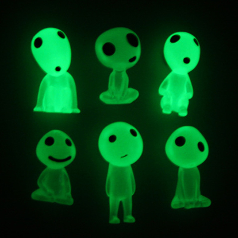 6 Pcs/set Princess Mononoke Figure Toys luminous tree elves Spirit gardening potted decoration Micro Landscape Accessories Gift gardening tools to plant potted dedicated