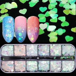 Image 5 - 1 Juego de copos de brillantina para uñas, polvo de lentejuelas AB, lentejuela holográfica, triángulo rombo 3D, diseño fino decoración de pulido JIG04