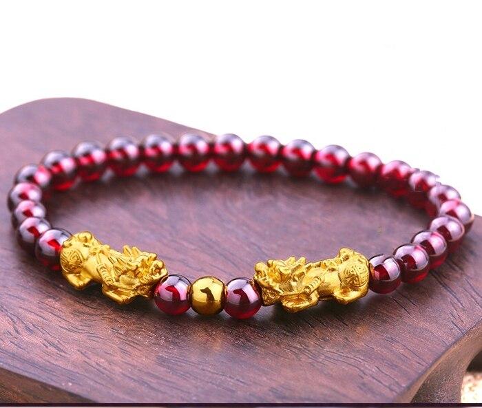 Nouveau Bracelet en or jaune 999 24 K réel pour femme 3D deux bénis Pixiu & chaîne de grenat rouge avec perle chanceuse