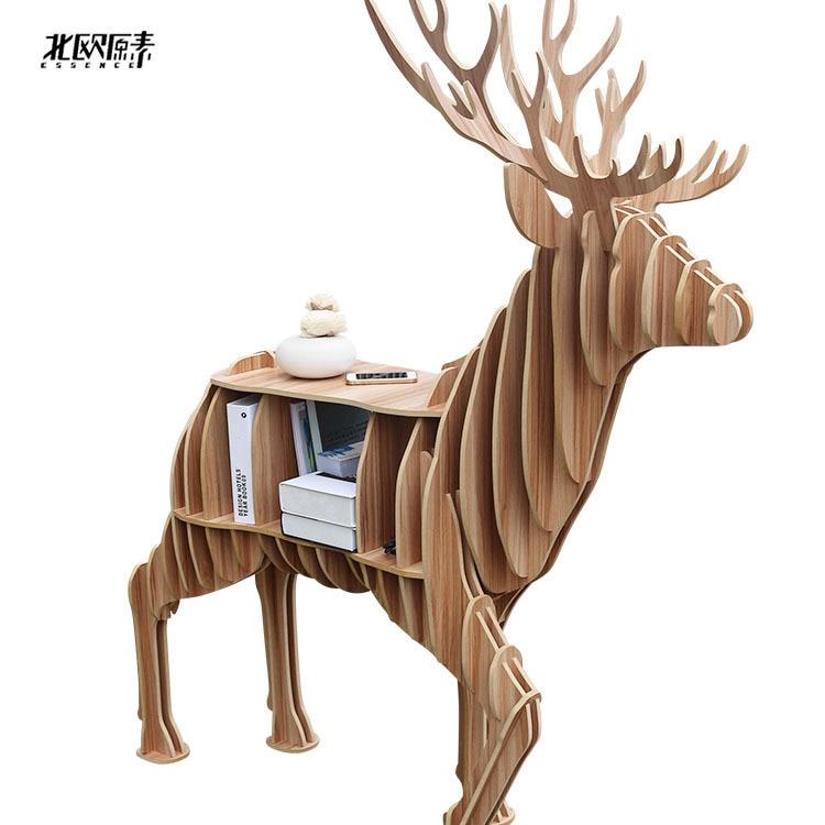 Scandinavian Animal Mascot Shelf Bookcase Exclusive Wooden