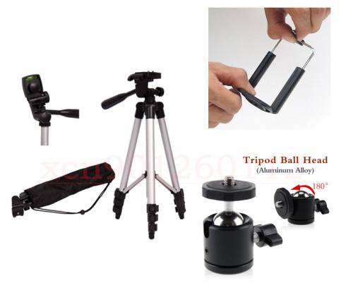 3 in 1 Camera Tripod stand With 3-Way Head Tripod Bag + cellphone holder + 360 Tripod Ball Head for 5D2 5D3 60D D3200 D90 Camera