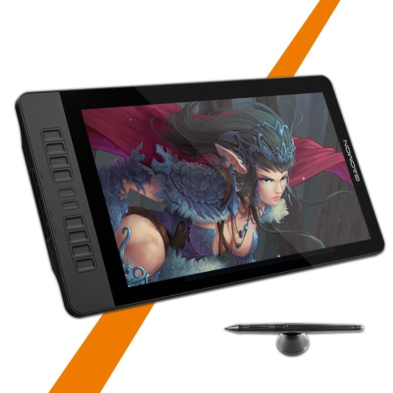 Moniteur de tablette graphique gapacket PD1560 15.6 pouces IPS HD Art 8192 levier affichage de stylo de sensibilité à la pression et gant de tablette de dessin