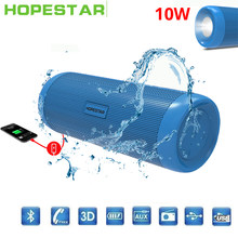 HOPESTAR fm raido Bluetooth Speaker Waterproof 10W Wireless Portable Column usb HIFI stereo Bass subwoofer outdoor led sound box(China)
