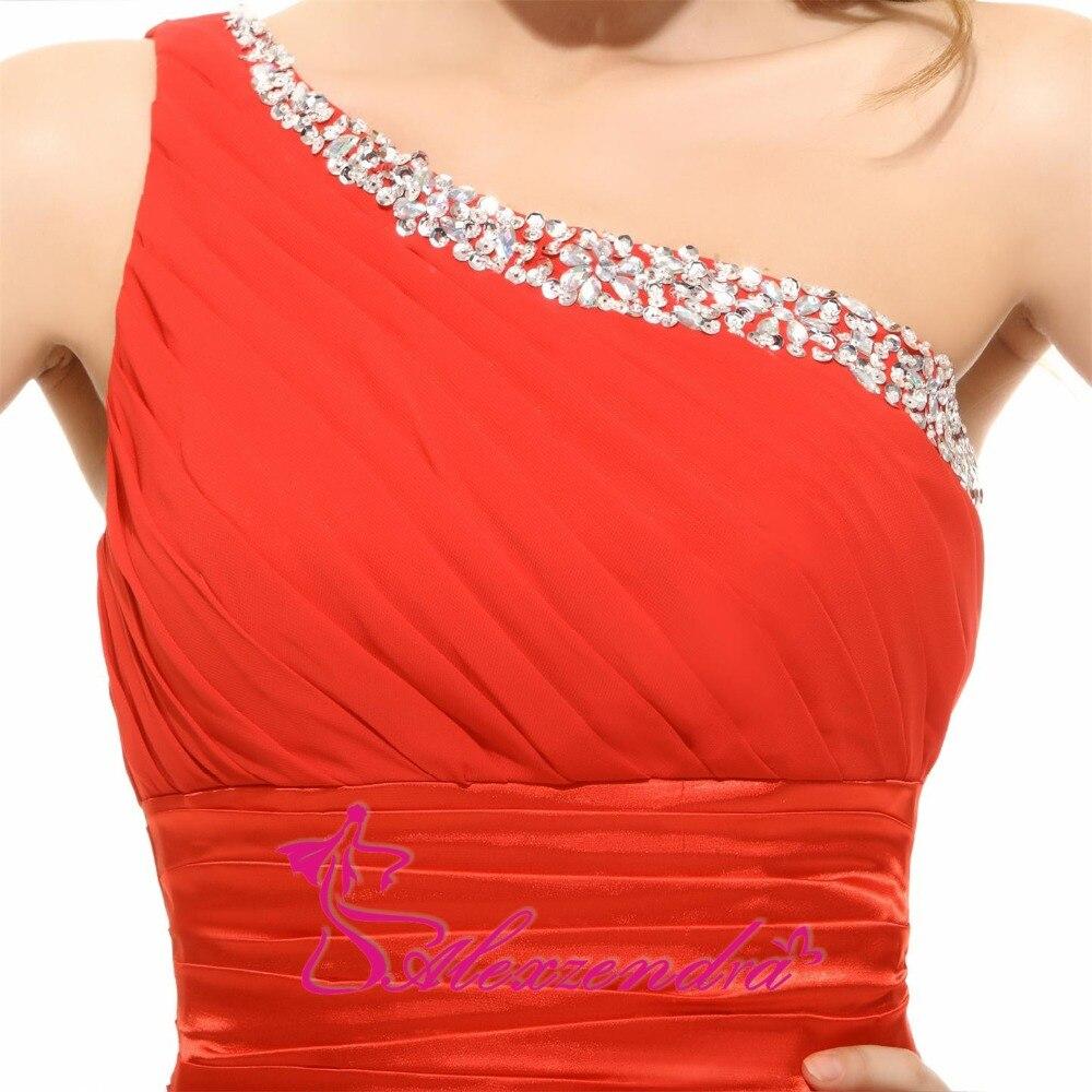 Alexzendra une ligne en mousseline de soie perlée une épaule robe de demoiselle d'honneur pour mariage longue robe de soirée robe de demoiselle d'honneur grande taille - 4