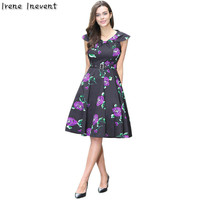 Irene Inevent 2017 Women Summer Dress Vintage Floral Print 50s 60s Style Dress Women Short Sleeve