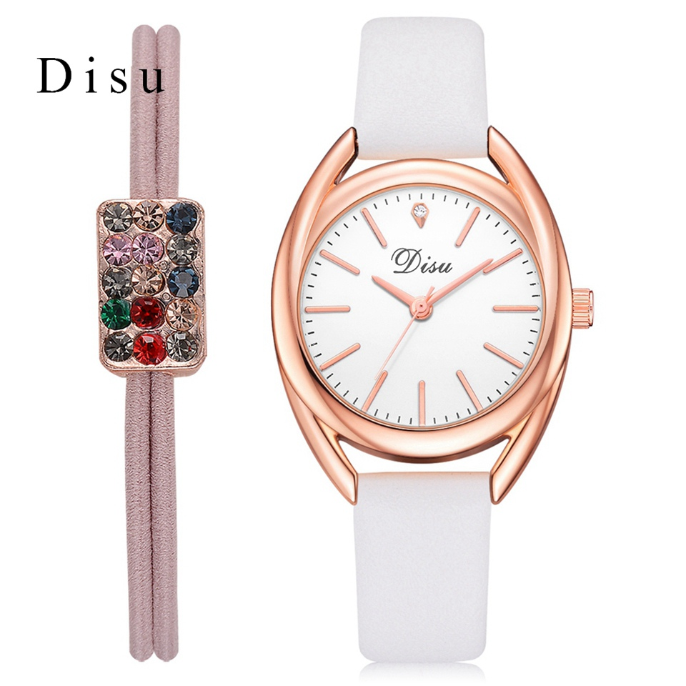Disu Brand Women Watch Set Luxury Rose Gold Dial Simple Leather Strap Business Wrist Watch Creative Ladies Sport Dress Watches disu top brand 2017 men watches fashion simple quartz wrist watch business leather strap male sport rose gold dial clock ds039