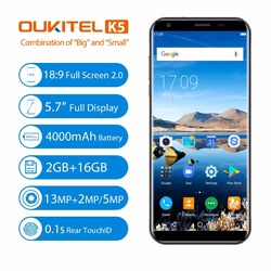 Oukitel K5 4G LTE Mobile Phone MTK6737T Android 7.0 2GB RAM 16GB ROM Quad Core Dual Back Cameras Fingerprin 5.7 Inch Cell Phone