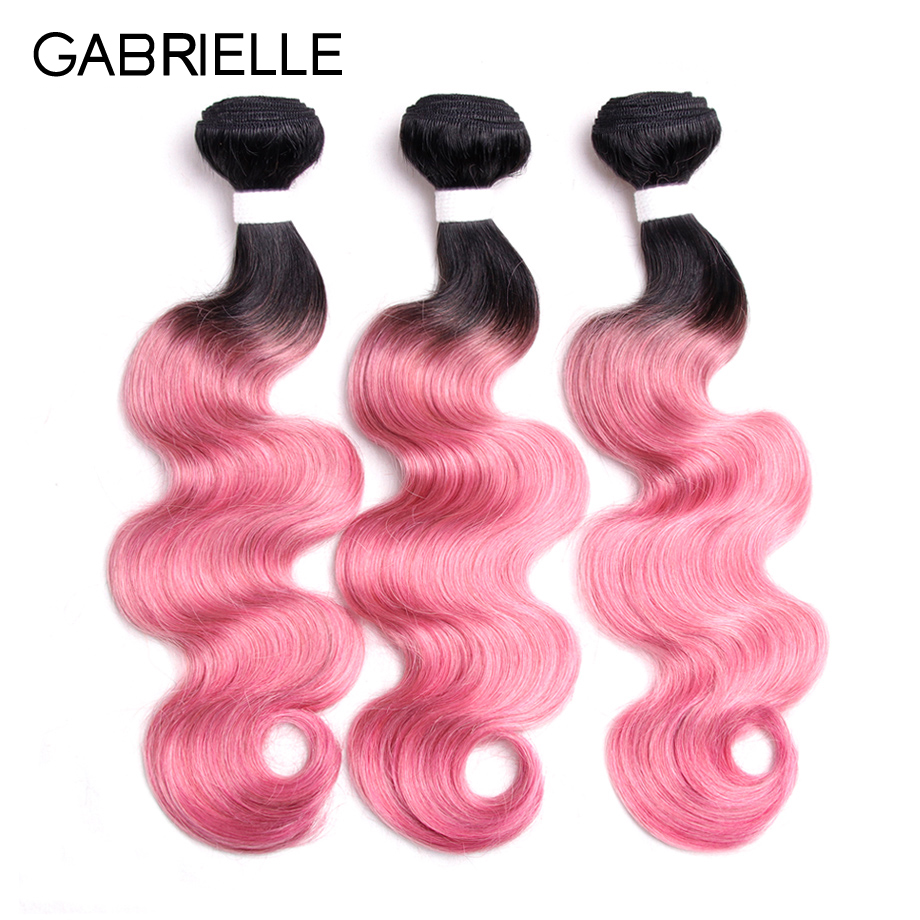 Gabrielle Malaysian Body Wave Human Hair 3 Bundles OT Rose Pink Non-remy Ombre Two Tone  ...