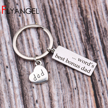 738dc3214 Creative Engraved Word's Best Bonus Dad Key Chains Dad Charm Stepfather Bag  Charm Father's Day gift