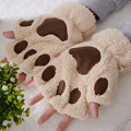 Catlike with hole cute girls winter gloves mitts half finger glove thick hair paws 2016 fashion new style B1