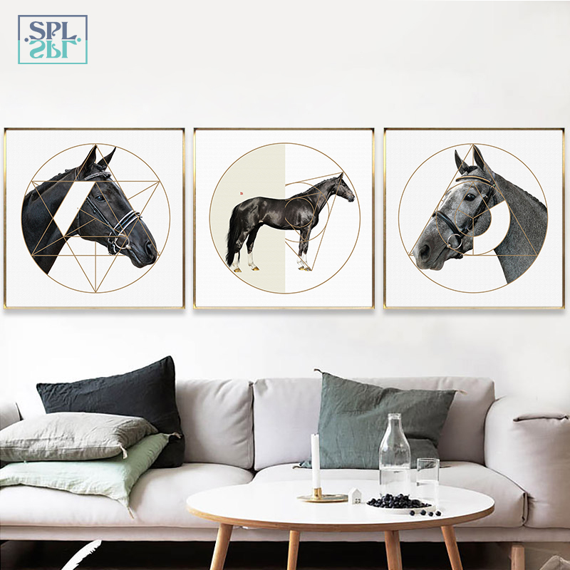 SPLSPL Modern Geometric Horse Canvas Art Print Painting Poster, Wall Pictures For Home Decoration, Frame Not Include Ornament