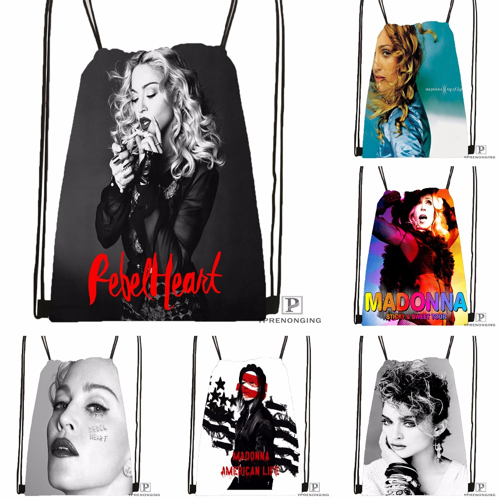Custom Madonna Drawstring Backpack Bag Cute Daypack Kids Satchel (Black Back) 31x40cm#180531-03-49