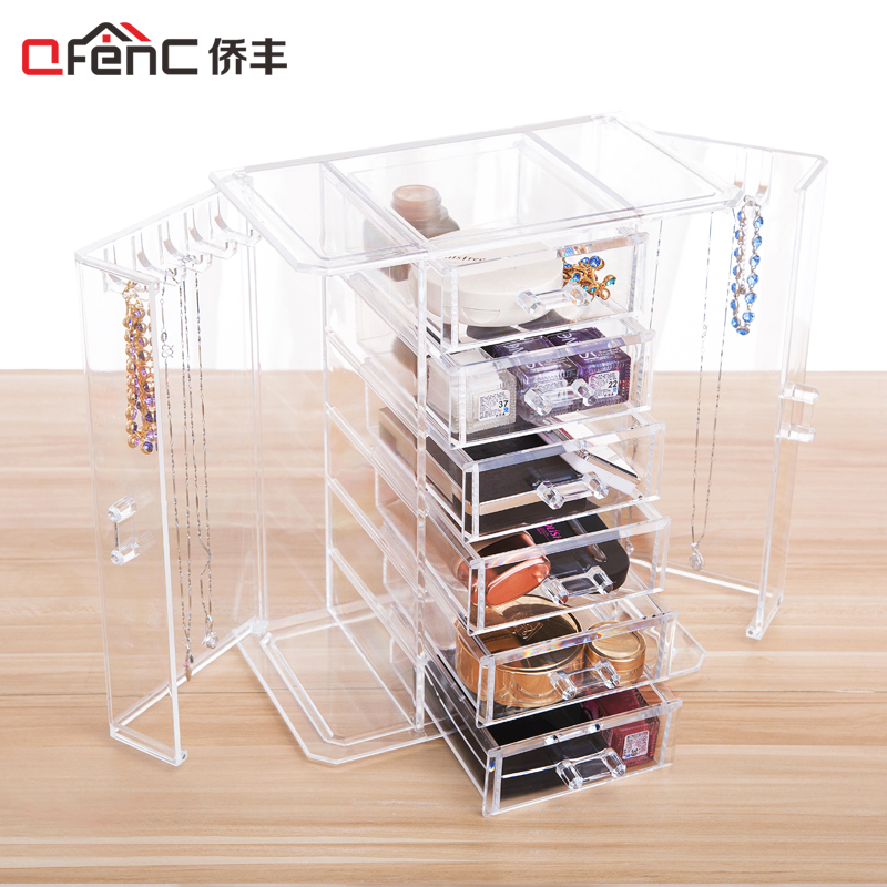 QFENC Unique Closet Design 6 tier Drawers Jewelry and Makeup