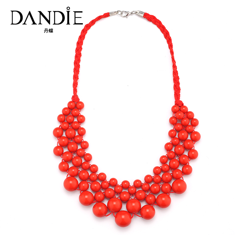 Dandie Fashionable Necklace With Acrylic Bead, Elegant Weave Braid Bead Jewelry For Women