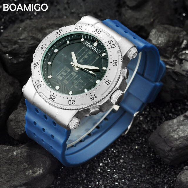 men sports watch Dual display Quartz Digital LED Watches men's military gift waterproof clock BOAMIGO brand rubber wristwatches