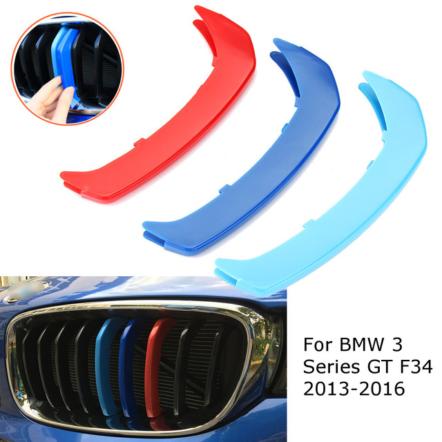 3pcs for BMW F34?9 Grilles 2013 2014 2015 2016 3D M color Car Front Grill  Grille Trim Sport Strips Cover Stickers-in Car Stickers from Automobiles &