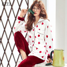44c789458078 BZEL 2pcs set Autumn Winter Women Ladies Winter Thick Warm Flannel  Strawberry Pajamas Suit Female