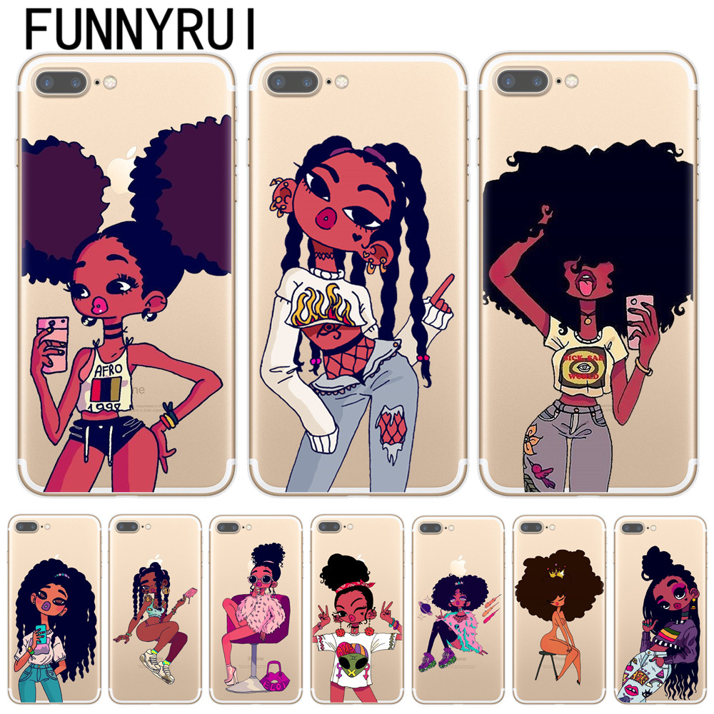 separation shoes b9233 4019f US $1.56 28% OFF|Afro Black Girl Magic Melanin Poppin Phone Case For iPhone  X 8 7 6 6S Plus 5S SE Soft TPU Silicone Phone Cover For iPhone 8Plus-in ...