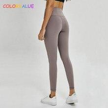 купить Colorvalue Naked-Feels Plain Sport Fitness Leggings Women High Waist Yoga Workout Tights Squatproof Athletic Leggings Size2-10 дешево