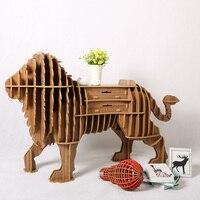 1 Set North European Style Creative Wood Lion Drawer Table Wood Desk Drawer Animal Furniture TM005M