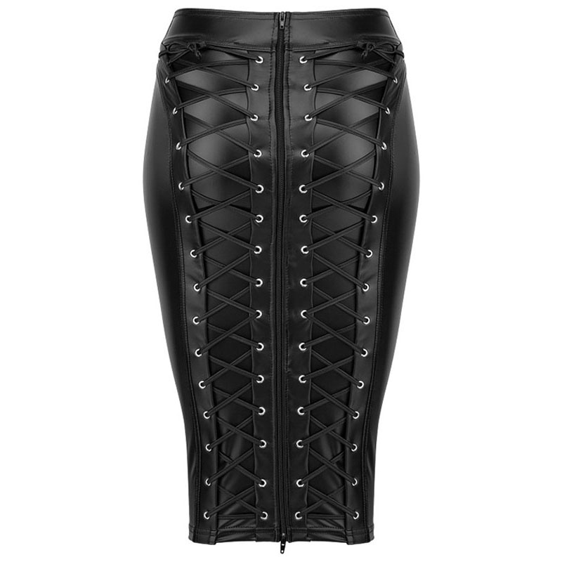 Gothic Wet Look Faux Leather Skirt Sexy Punk Black Back Zipper Lace Up Wrap Pencil Skirt 2018 Summer Bodycon Midi Skirts Womens