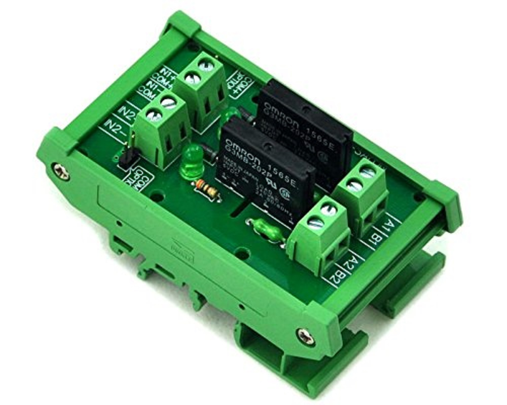 Electronics-Salon DIN Rail Mount DC5V 2 Channels DC-AC 2Amp G3MB-202P Solid State Relay SSR Module Board.