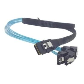 100pcs/lot Mini SAS 4i SFF-8087 36 Pin Host to 90 Degree Angled 4 SATA 7Pin Target HDD Hard Drive Splitter Cable 10Gbps 50CM