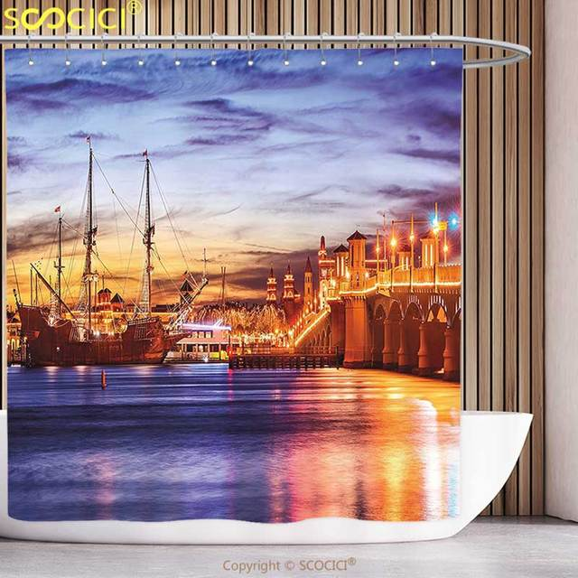 Funky Shower Curtain United States St. Augustine Florida Famous ...