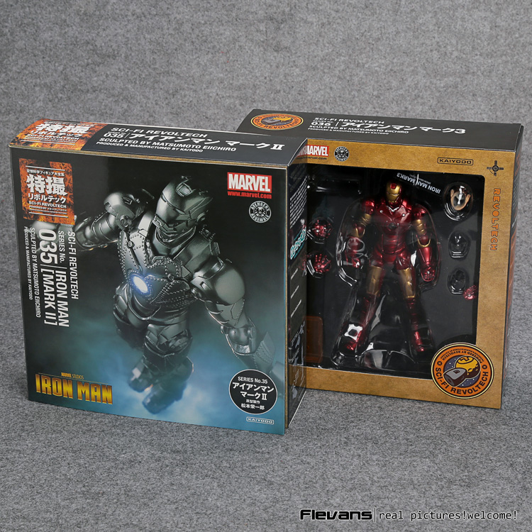 SCI-FI Revoltech Series NO.036 Iron Man Mark III MK3 NO.035 Mark 2 Mark II PVC Action Figure Collectible Model Toy все цены