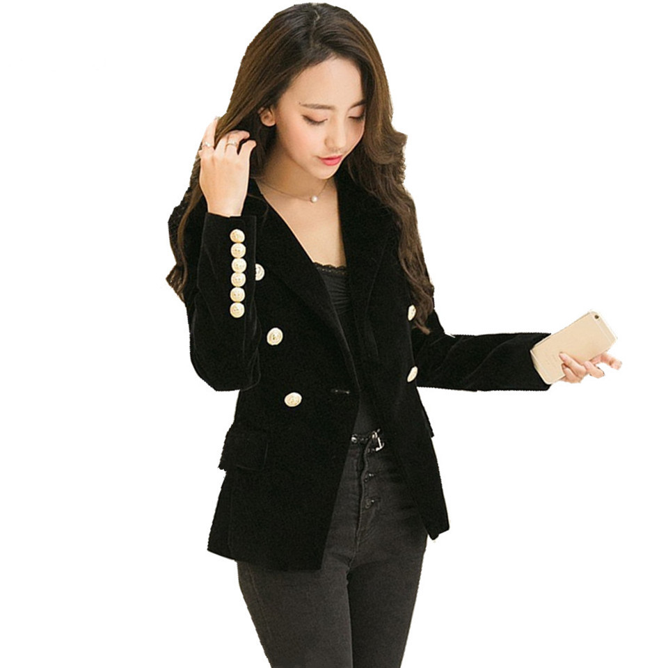 2019 Spring Velet Ladies Blazers Full Sleeve Female Slim Button Blazer Jacket Chaqueta Mujer Feminino Blazer Outwear ow0247