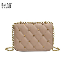 все цены на BRIGGS Fashion Small Women Messenger Bag with Chain Quality Leather Female Shoulder Bags Casual Flap Bag Ladies Crossbody Bag онлайн
