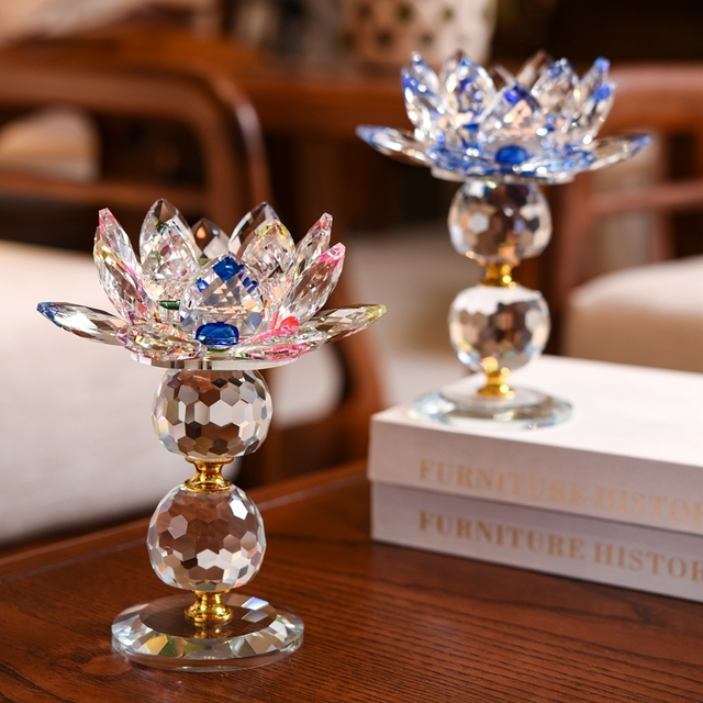 3 Style Crystal Glass Lotus Flower Candle Holder (8 Colors) 2