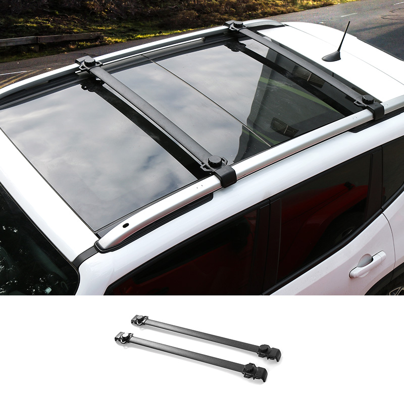SHINEKA Aluminum alloy + ABS Baggage Luggage Holder Roof Rack Rail Cross Bar Crossbar Fit For Jeep Renegade 2015-2017 2pcs roof rack cross bar crossbar black abs aluminum for jeep compass 2011 2015