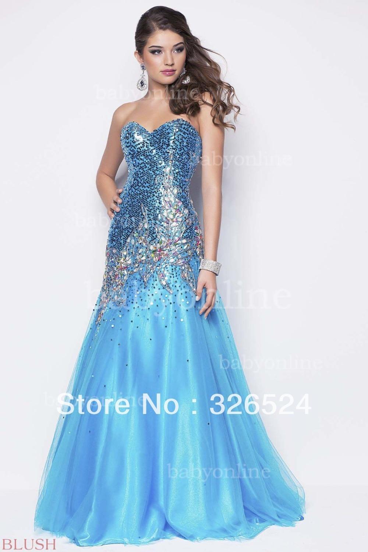 New fashion evening Dress crystal Mermaid full beaded yellow /blue ...