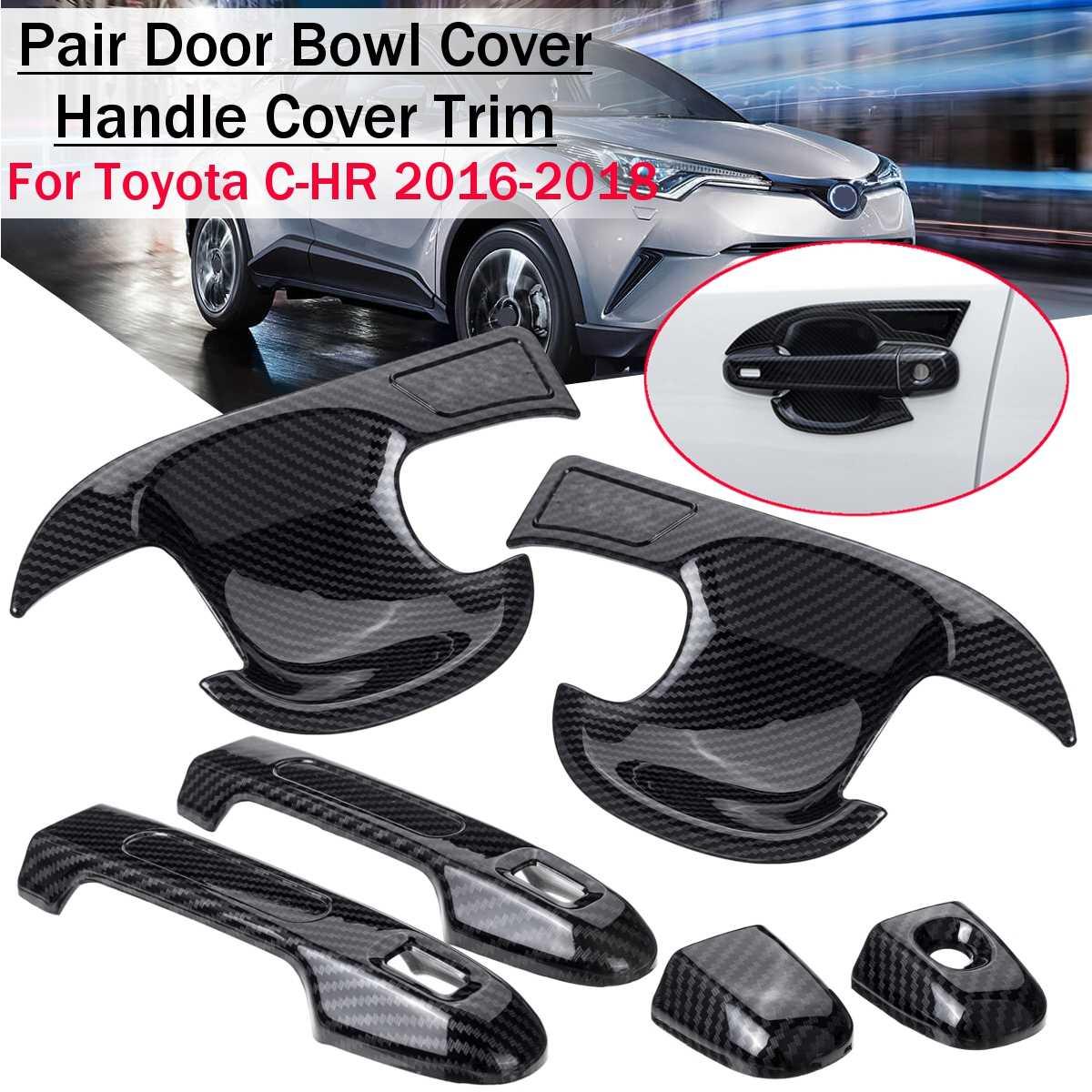 ABS Carbon fiber Front Side Door Handle Cover Trim For Toyota C-HR CHR 2016 2017