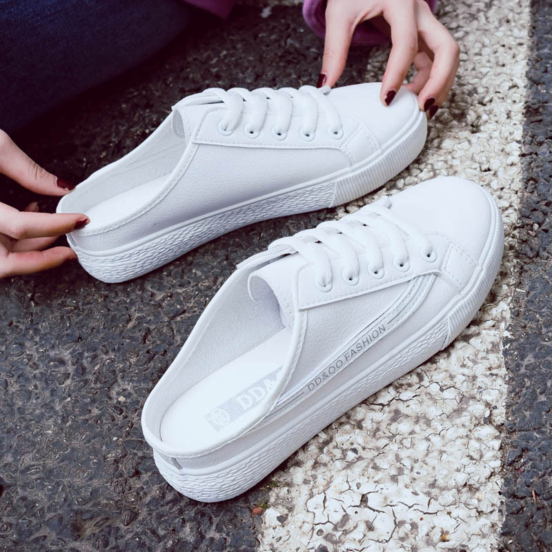 2018 summer new fashion women shoes casual PU leather shallow simple women casual white shoes slippers sneakers breathable