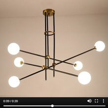 LuKLoy ポストモダンシャンデリア分岐光リビングルームホール鉄 Modo ガラスボール人気の現代的なペンダントランプ照明器具