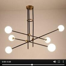 Lukloy pós moderno lustre ramo luz sala de estar salão ferro modo bola vidro popular moderna luminária pendente