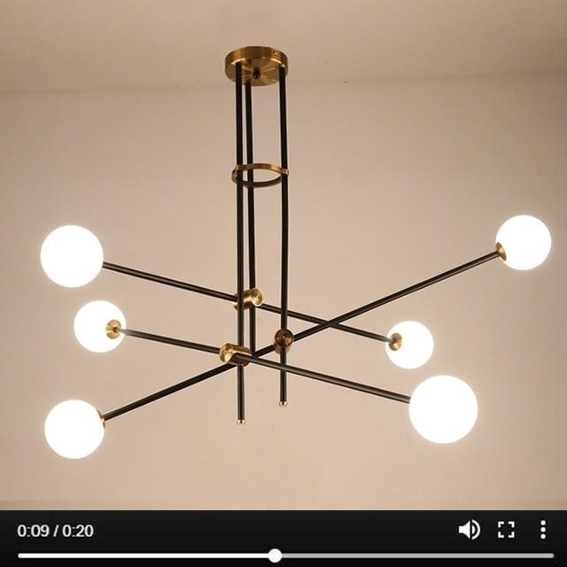 LuKLoy Post Modern Chandelier Branch Light Living Room Hall Iron Modo Glass Ball Popular Modern Pendant Lamp Lighting Fixture