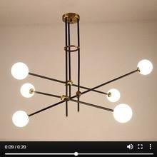 LuKLoy современная люстра, ветка, светильник, гостиная, зал, железный стеклянный шар, популярный современный подвесной светильник