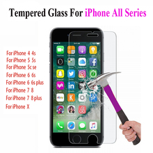 Protective glass on the for iphone 5S screen protector tempered if film case caver 5 6 S 7 8 X SE plus