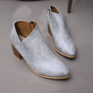 Image 4 - 2020 שיק קיץ נשים נעלי רטרו גבוהה העקב קרסול בלוק אמצע עקבים מקרית Botas Mujer נעלי Feminina בתוספת גודל 43