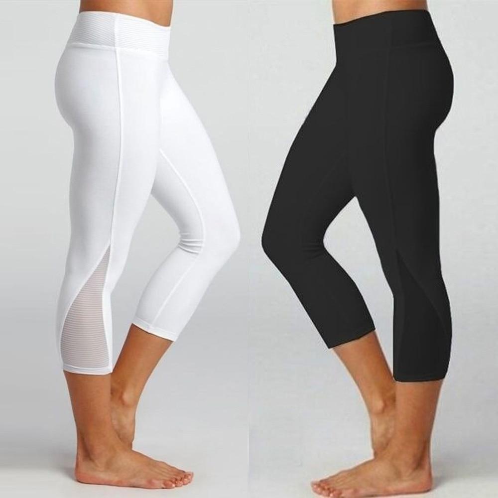 Women High Waist Elastic Gym Yoga Leggings Color Splicing Sports Pants