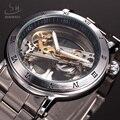 Marca SHENHUA Tourbillon Relógio Mecânico Automático Dos Homens de luxo Transparente Esqueleto Relógio de Pulso Relógio de Negócios de Moda Masculina
